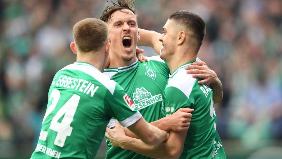 Werders Max Kruse feiert den 3:1-Sieg seiner Bremer über FSV Mainz 05.