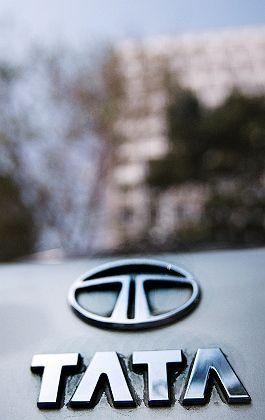 The Tata logo on a car in Mumbai, India.