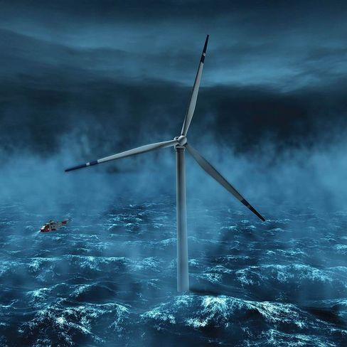 Offshore wind turbines are gigantic. Here, an artist's rendering of such a turbine, planned for the coast of Norway.