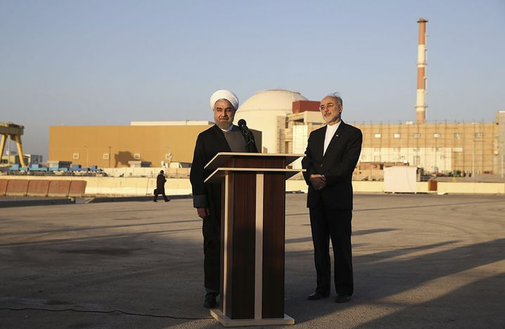 Iranian President Hassan Rouhani together with the head of Iran's Atomic Energy Organization, Ali Akbar Salehi, during a 2015 visit to the Bushehr nuclear power plant.
