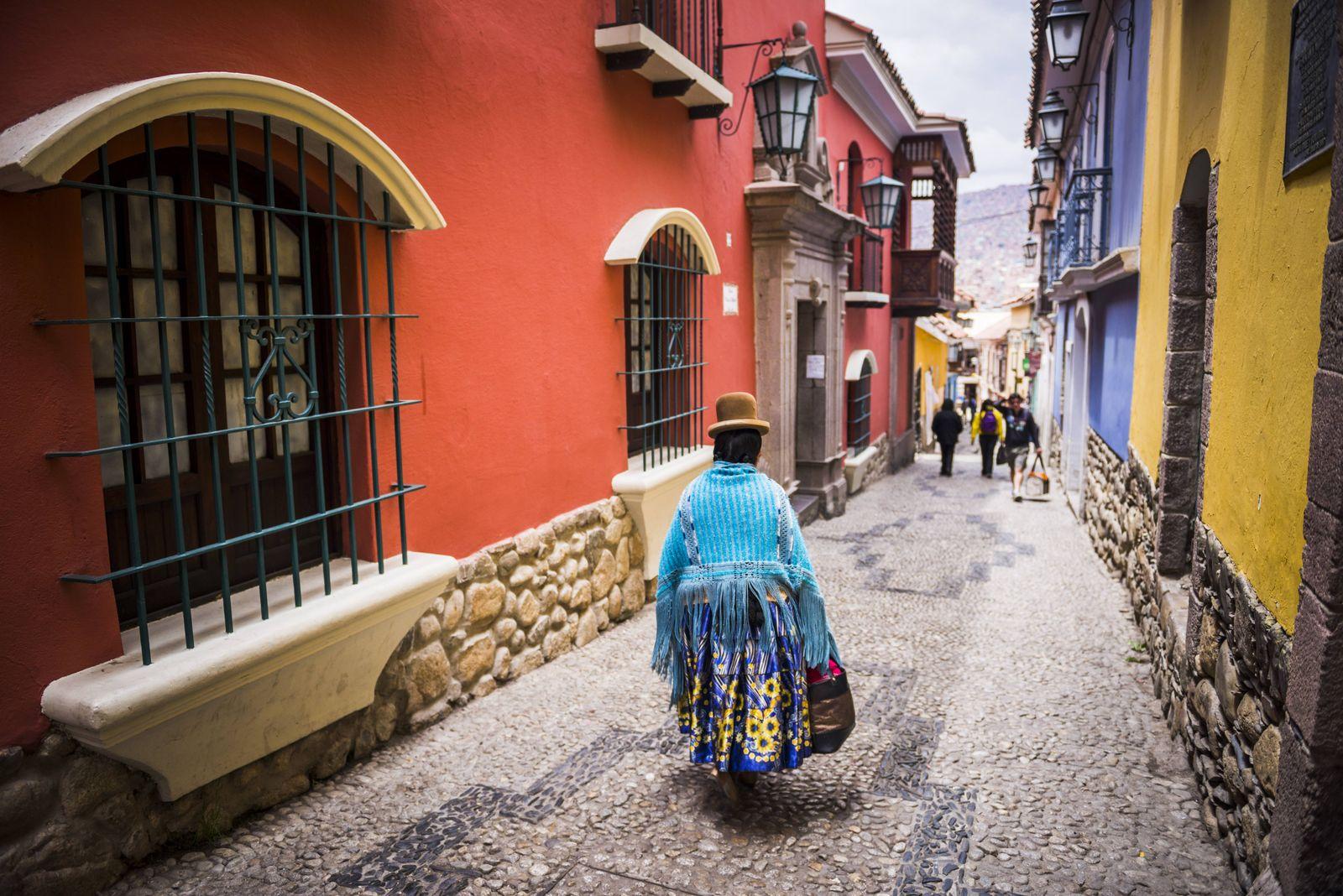 Chollita on Calle Jaen a colourful colonial cobbled street in La Paz La Paz Department Bolivia S