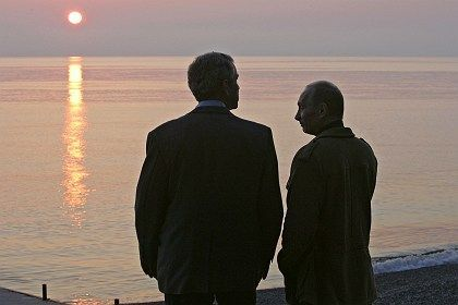 Bush, Putin and the sunset over the Black Sea.