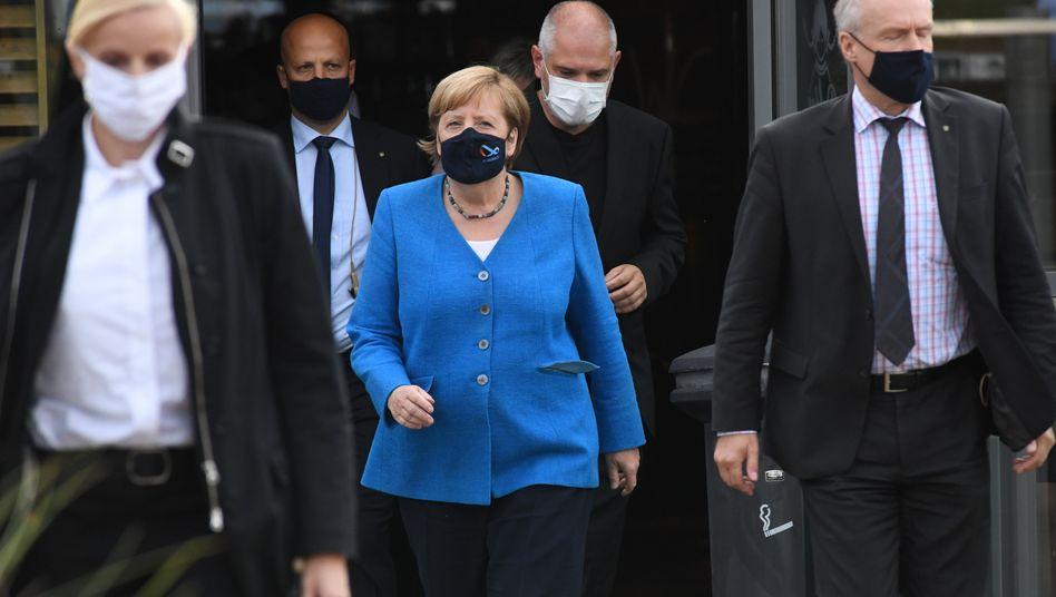 Bundeskanzlerin Angela Merkel bei ihrem Besuch in Stralsund