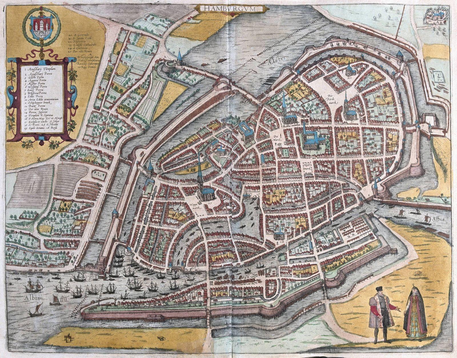 Hamburgum Hamburg Germany in Civitates Orbis Terrarum published in six parts between 1572 and 1