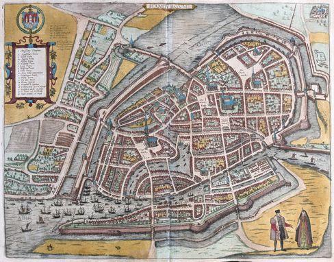 Straßenverläufe weitgehend gleich geblieben: Historische Stadtkarte von Hamburg