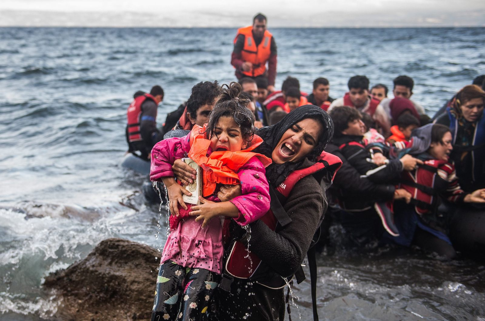 Refugees arriving in Greece