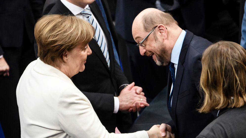 Kanzlerin Merkel, Kontrahent Schulz 2018