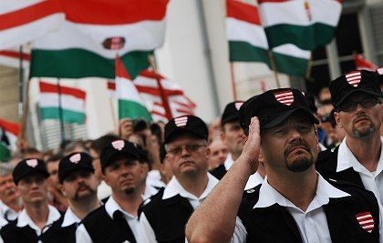 """Members of extreme-right """"Magyar Garda"""" or Hungarian Guard are seen during their swearing-in ceremony in Budapest, Hungary."""