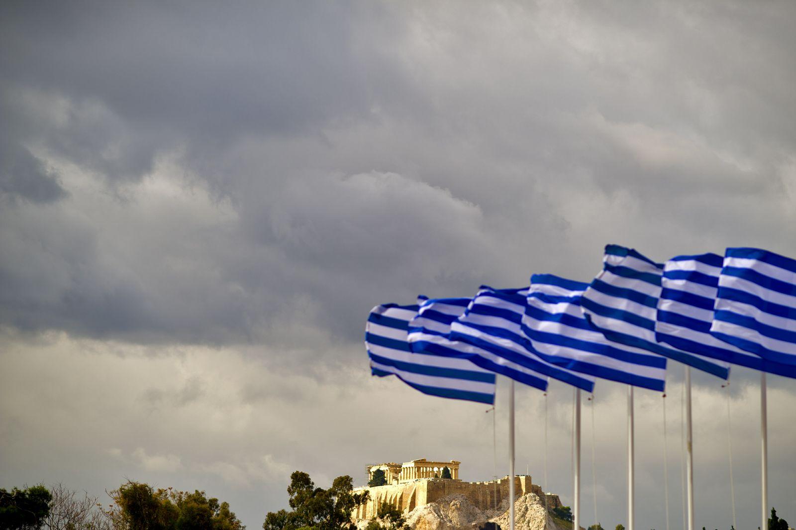 NICHT VERWENDEN Griechenland Akropolis Flaggen