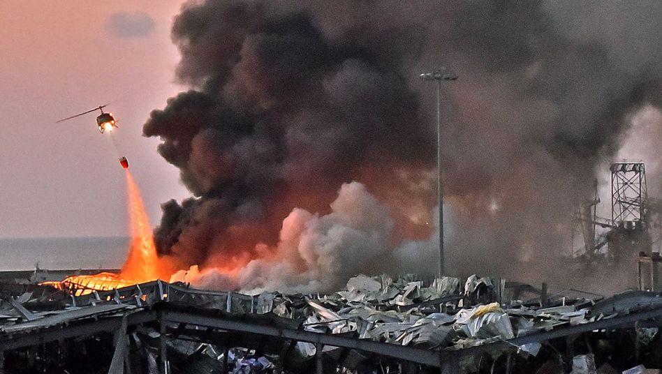 Der Hafen von Beirut nach der zweiten Explosion