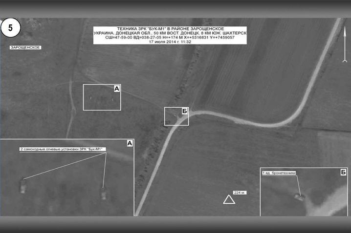 Foto des russischen Verteidigungsministeriums, datiert auf den 17. Juli 2014, 11.32 Uhr: Gebiet um Saroschenskoje