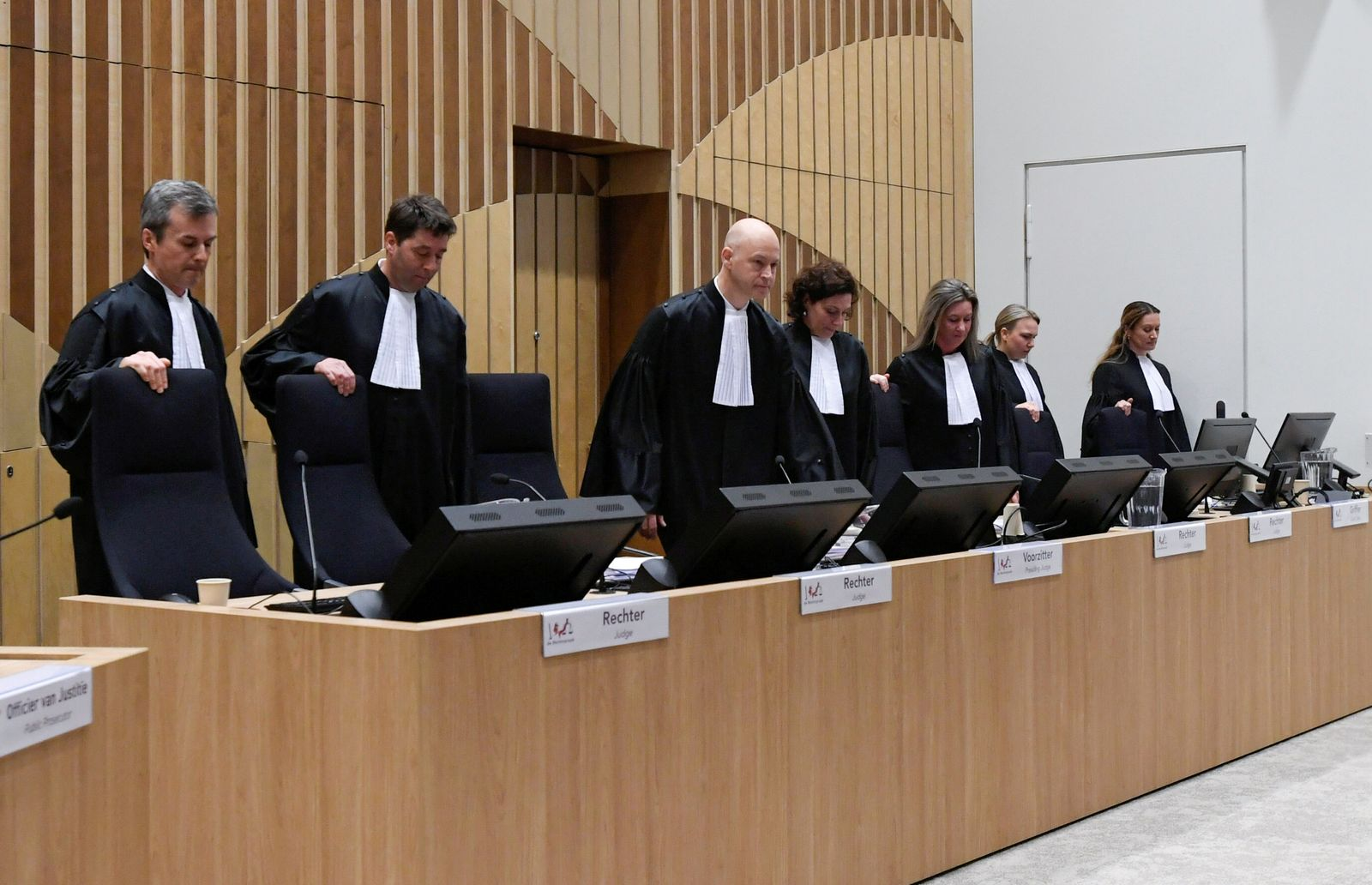 Dutch court opens the criminal trial against four suspects in the July 2014 downing of Malaysia Airlines flight MH17, in Badhoevedorp