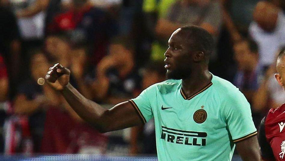Romelu Lukaku nach seinem Siegtreffer für Inter Mailand gegen Cagliari Calcio