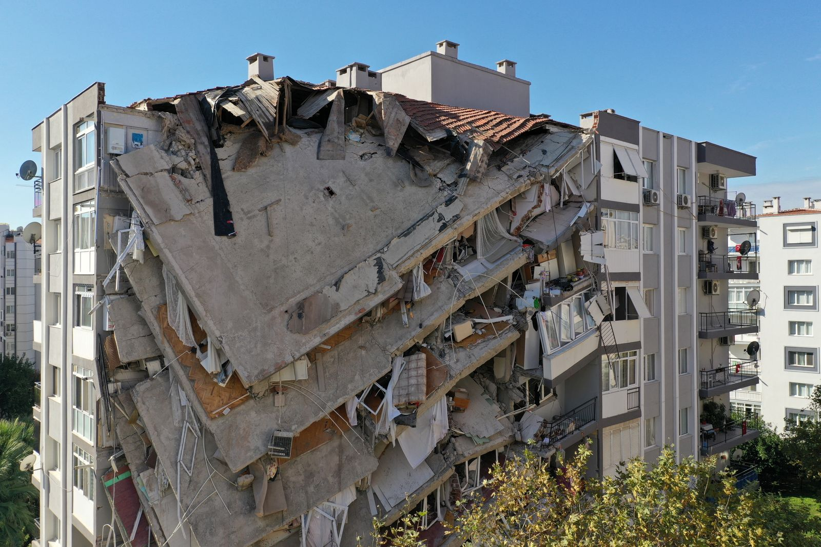 An aerial view shows a damaged building after an earthquake in Izmir