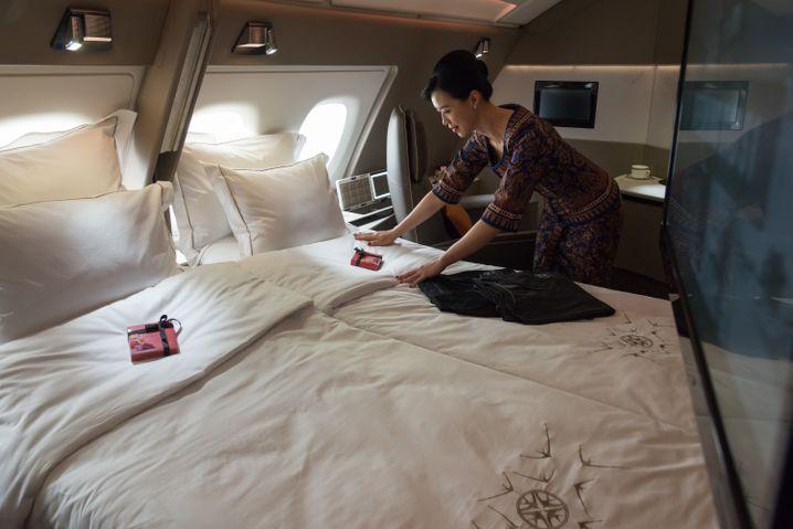 Luxuskabine in einem A380 von Singapore Airlines