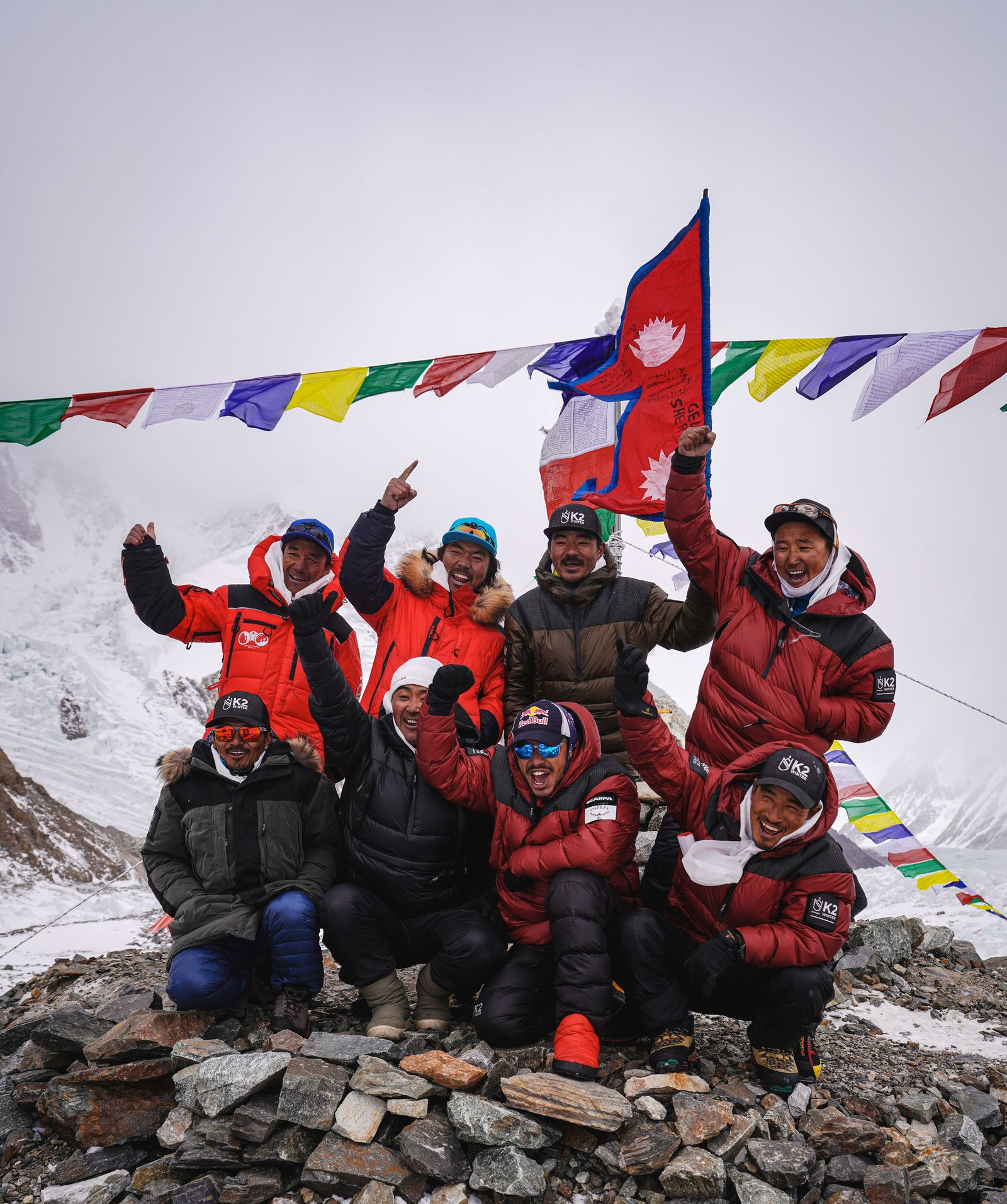 Team of climbers from Nepal is seen during the Puja ceremony