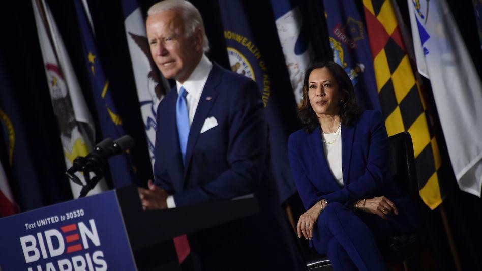 """Joe Biden und Kamala Harris in Wilmington: """"Es steht alles auf dem Spiel""""."""