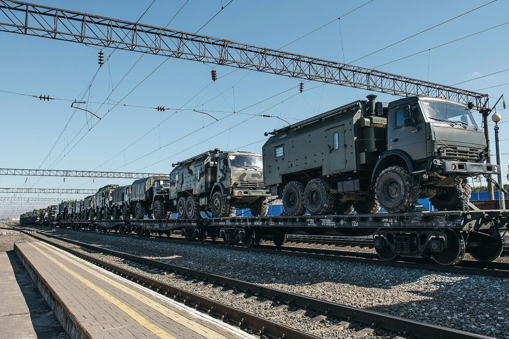 "Russian military vehicles at Maslovka train station near Voronezh: ""We are everywhere."""