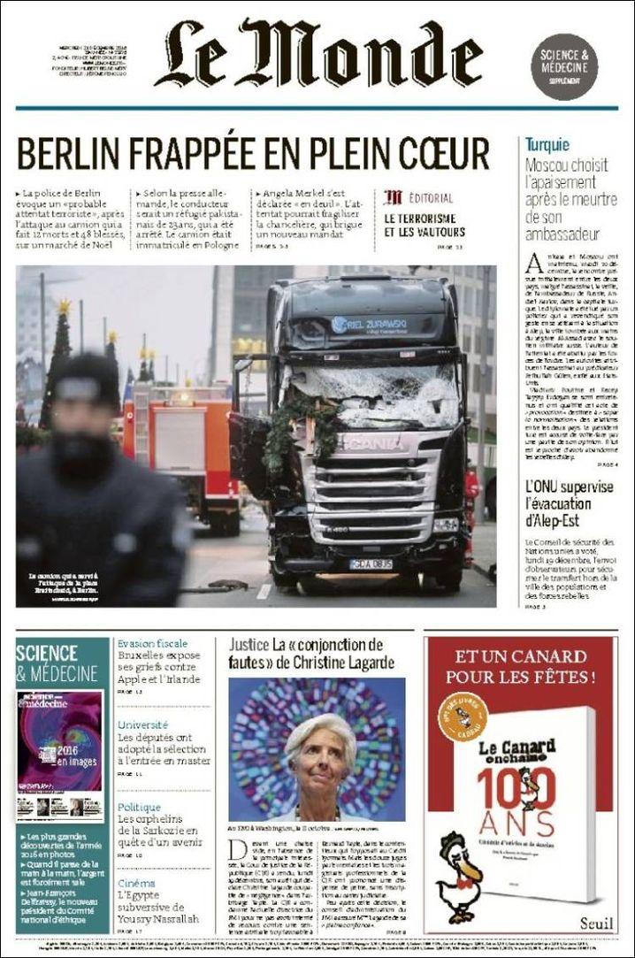 """Titelseite """"Le Monde"""""""