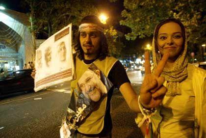Zuversicht: Ein Fan des Reformers Mostafa Moins gibt sich siegesgewiss