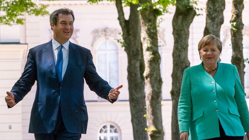 Kanzlerin Merkel, Ministerpräsident Söder auf dem Chiemsee, Juli 2020
