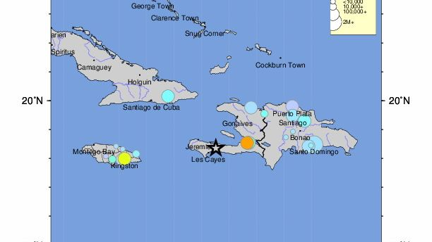 Karte des USGS (US-Behörde für Geologie und Naturkatastrophen) mit dem Epizentrum im Süden von Haiti