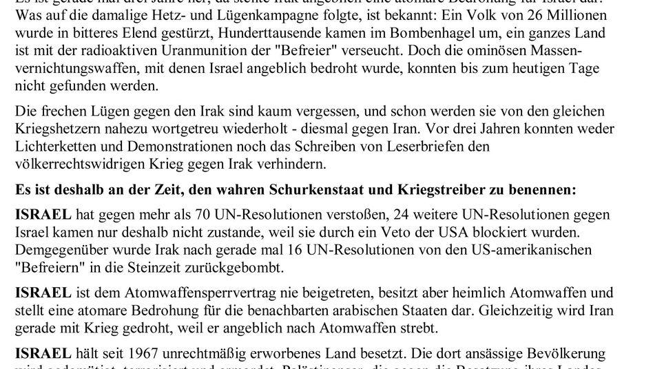Von der Duisburger Linken verbreitetes Flugblatt: Hakenkreuz und Davidstern
