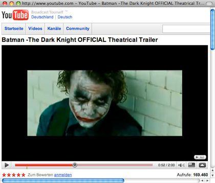 Hatte sicherlich einen wesentlichen Anteil am Erfolg des Trailers: Heath Ledger als Joker