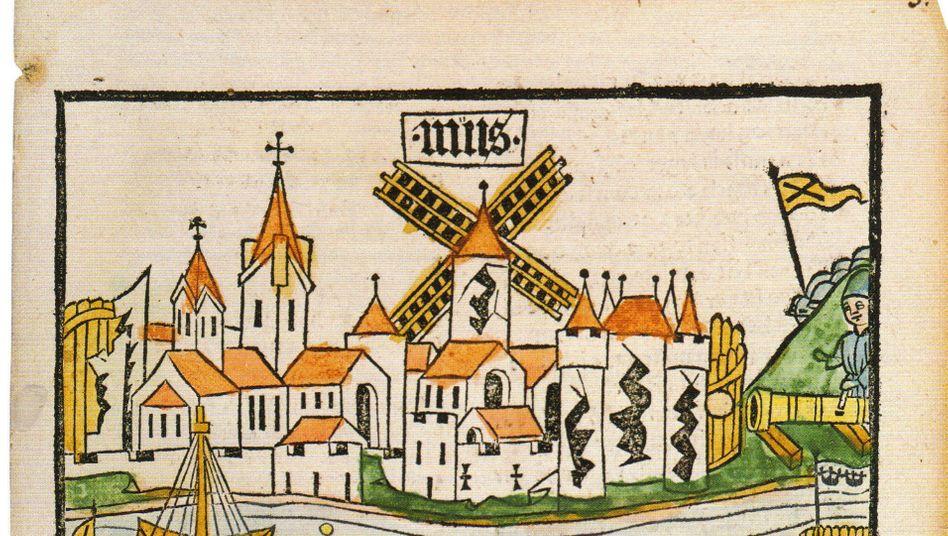Mit Windmühle und Stadtmauer: So wurde Neuss in der Reimchronik des Konrad Pfettisheim dargestellt.