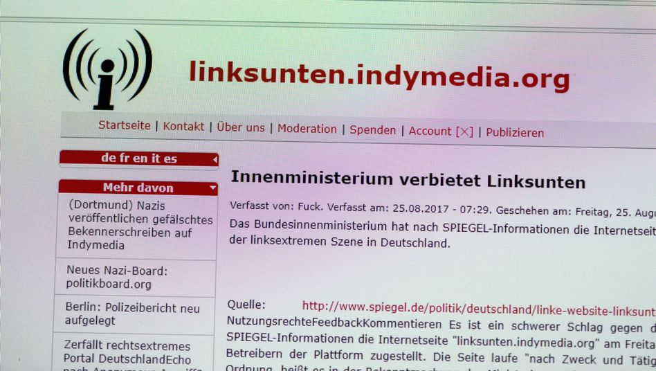 "Screenshot der Internetseite ""linksunten.indymedia.org"" (Archivbild)"