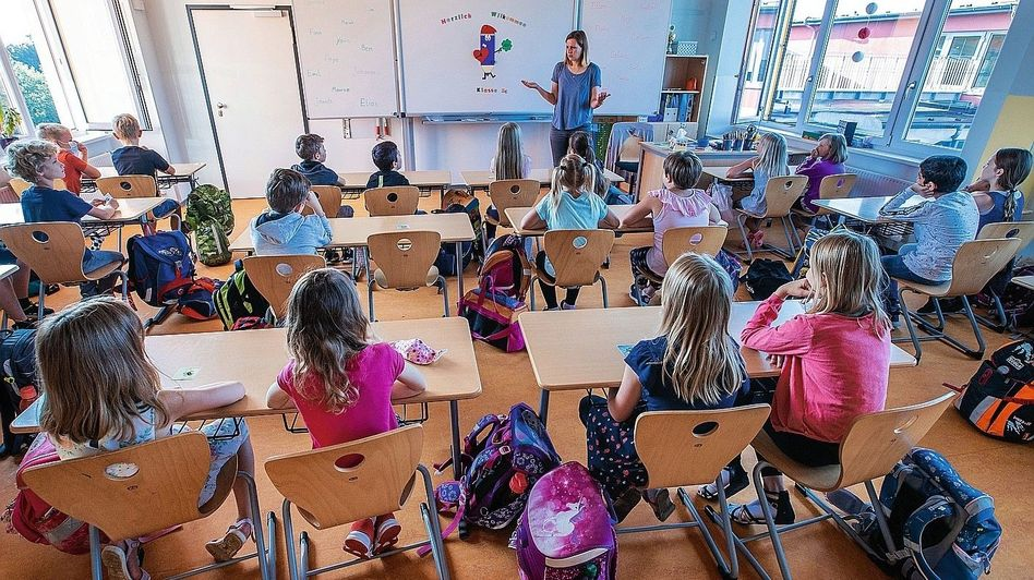 A school in the German city of Schwerin, where classes resumed this week after the coronavirus lockdown and the summer holidays.