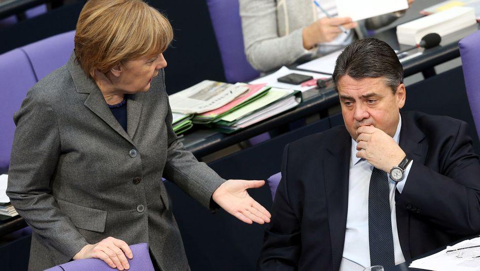 """Merkel und Gabriel im Bundestag: """"Das muss doch möglich sein"""""""