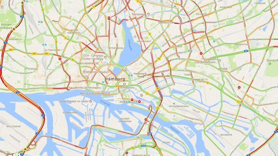 Screenshot auf Google Maps: Rot bedeutet Stau