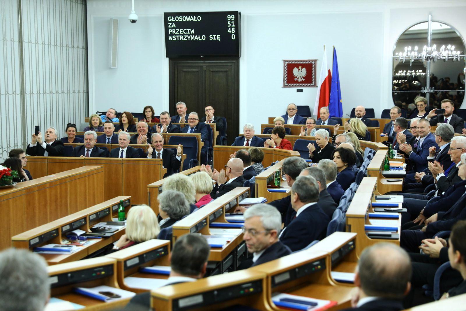 Senators vote on new judiciary bill, Warsaw, Poland - 17 Jan 2020