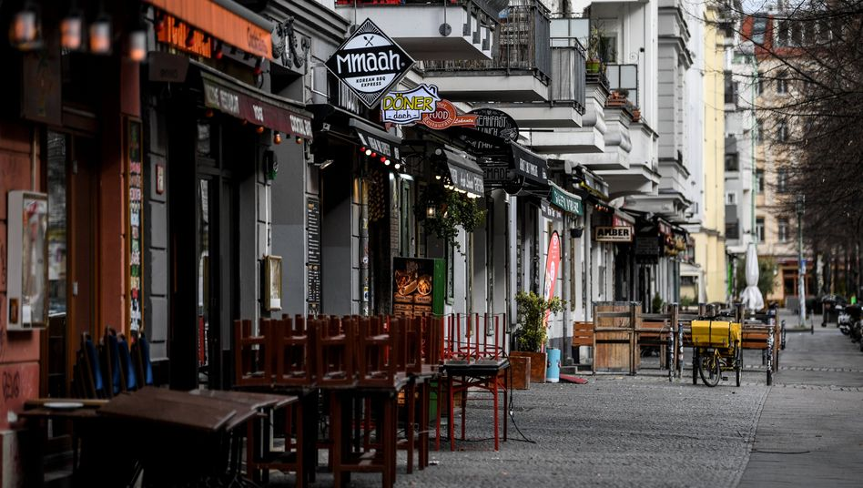 Empty bars and restaurants along Berlin's popular Simon Dach Strasse in the Friedrichshain district