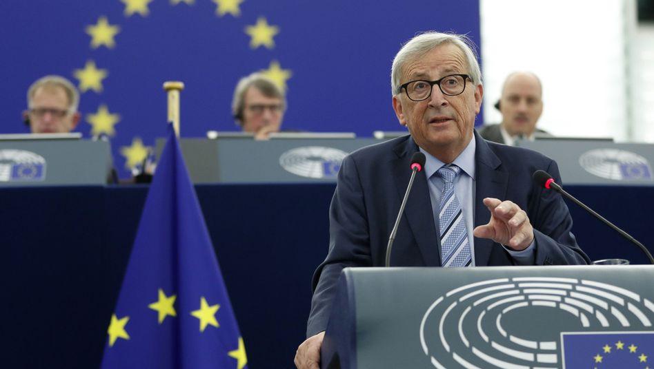 Jean-Claude Juncker, Noch-EU-Kommissionspräsident, spricht im Europäischen Parlament