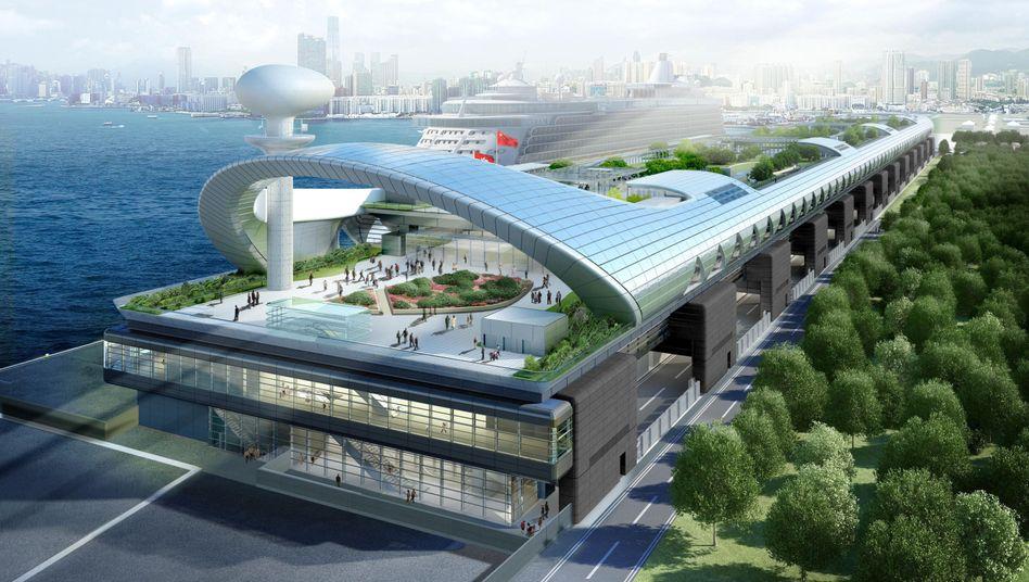Futuristisch: So soll das neue Terminal für Kreuzfahrtschiffe in Hongkong aussehen