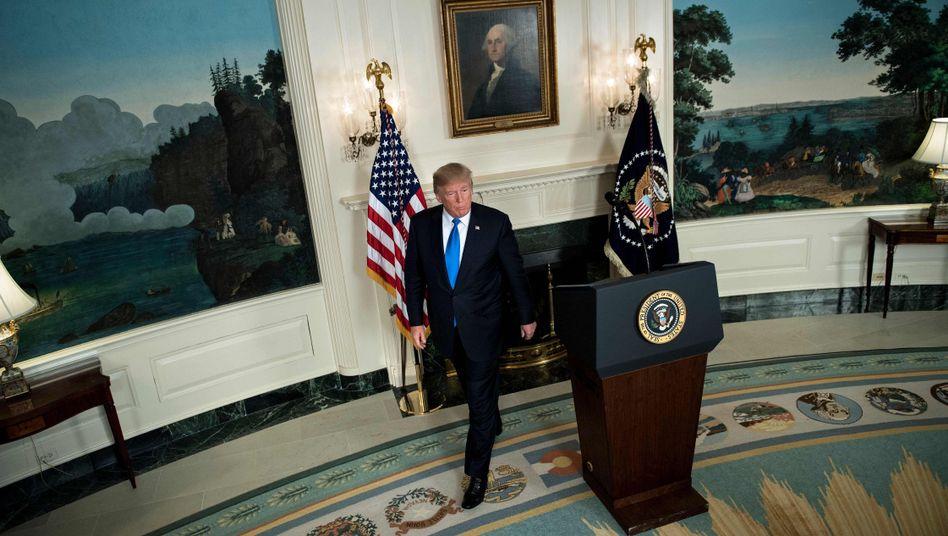 US-Präsident Trump nach einer Rede zum Iran-Deal am 13. Oktober 2017