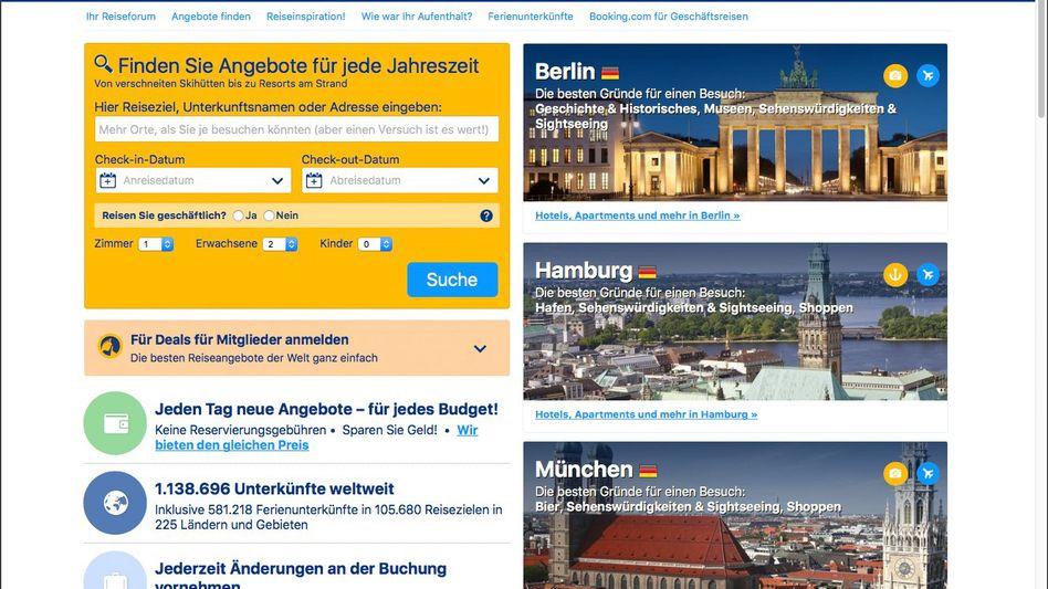 Screenshot von Booking.com
