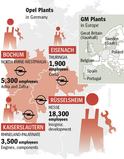 Graphic: Opel plants in Germany and Europe