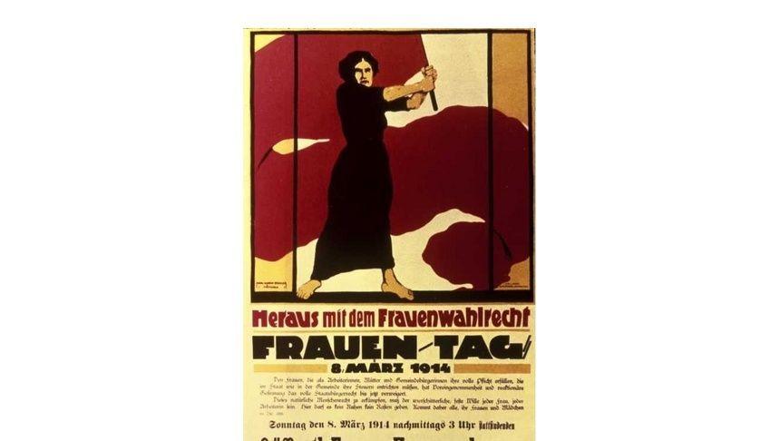 Heraus mit dem Frauenwahlrecht: Plakatentwurf von Karl Maria Stadler zum Frauentag am 08.03.1914