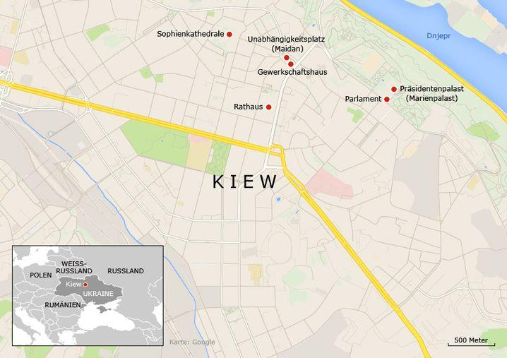 Karte: Proteste in Kiew