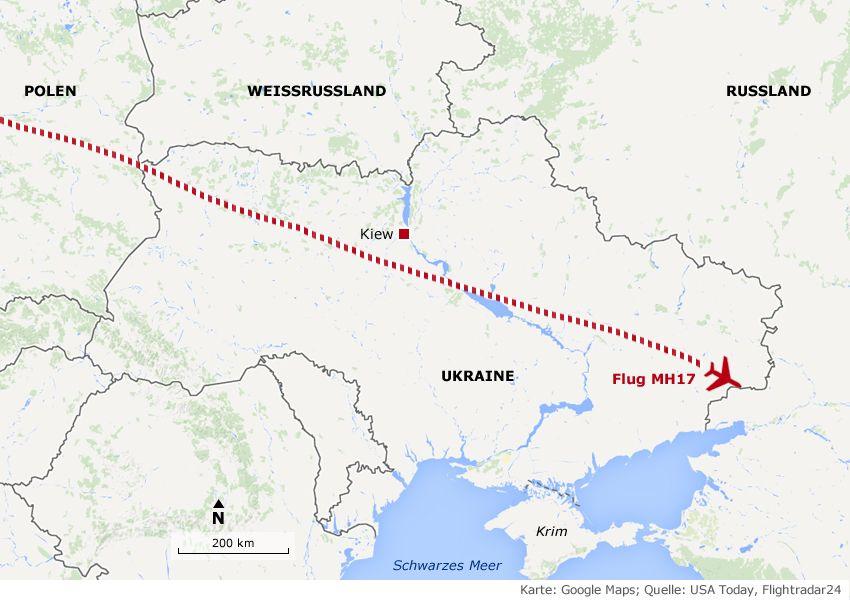 Karte Absturz/ Malaysian/ Ukraine MH17