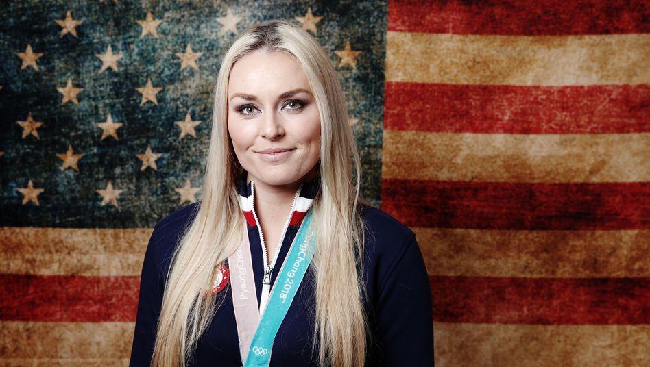 Lindsey Vonn, 2018 bei den Winterspielen in Pyeongchang mit ihrer Bronzemedaille