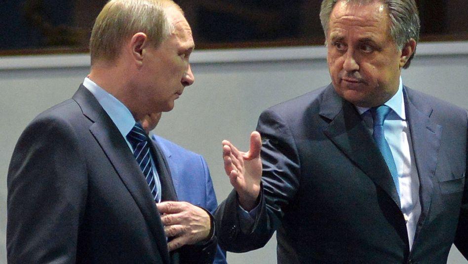 """Sportminister Mutko (r., mit Präsident Putin): """"Wir sind bereit zu reformieren"""""""