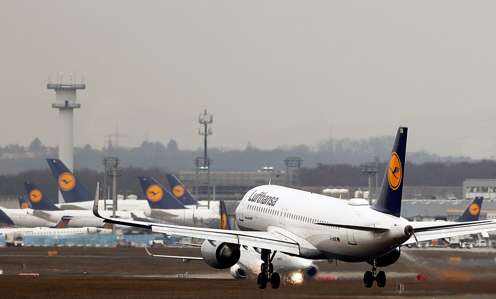 Planes of German air carrier Lufthansa are seen at the airport in Frankfurt