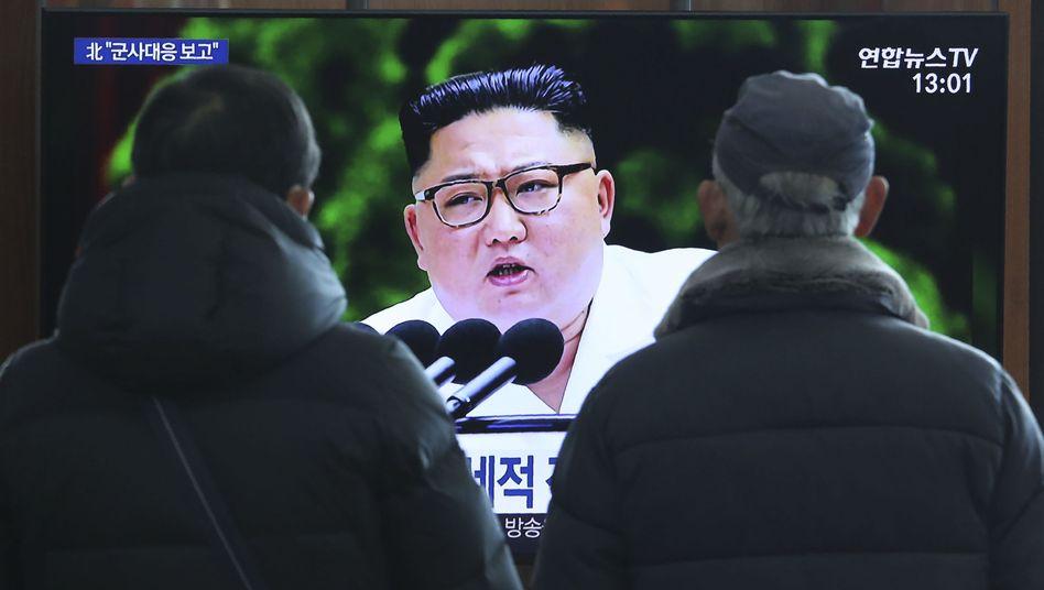 Kim Jong Un auf einem Fernseher in Seoul