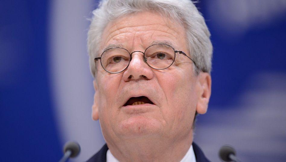 Gauck bei seiner Rede vor dem Europarat: