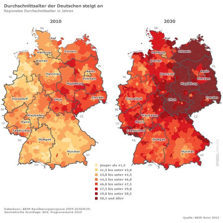 Regionale Unterschiede bei der Entwicklung des Durchschnittsalters