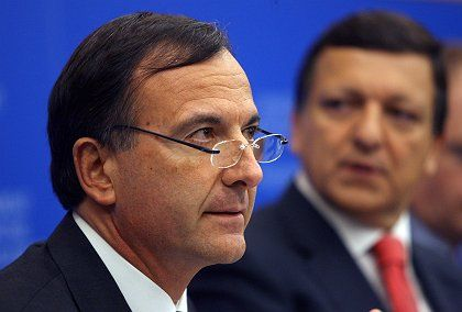 EU Justice and Home Affairs Commissioner Franco Frattini at the press conference to announce the Blue Card plan in Strasbourg on Tuesday.